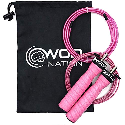 WOD Nation Attack Speed Jump Rope by Adjustable Jumping Ropes - Unique 2 Cable Skipping Workout System - 1 Heavy and 1 Light 11' Cable - Perfect for Double Unders - Fits Men and Women