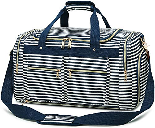 Weekender Overnight Duffel Bag Shoe Pocket for Women Men Weekend Travel Tote Carry On Bag (Blue-0.6)
