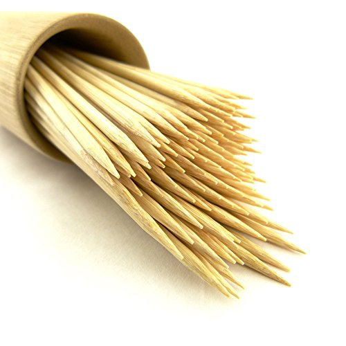 """300 Premium Round Sharp Point Bamboo Skewers - 3mm thick & 7.1"""" long"""