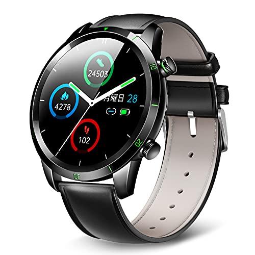 スマートウォッチ KYOKA 2021最新 Bluetooth5.2 丸型 2種ベルト付き smart watch 24種類運動モード 腕時計 活動量計 歩数計 スポーツウォッチ メンズ レディース IP67防水 天気予報/明度調整/電話/メール/SNS/