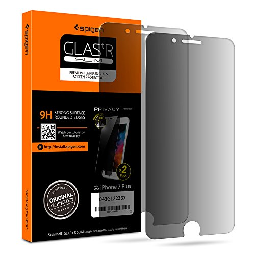 Spigen Tempered Glass Privacy Screen Protector [2 Pack] designed for iPhone 8 Plus/iPhone 7 Plus - Black Privacy