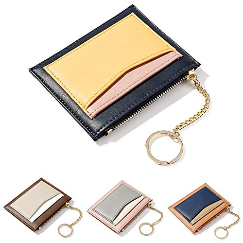 ZhaoCo Girls Wallet Purse, PU Leather Mini Coin Purse Card Case Holder Zipper Pouch Wallet with Key Ring for Women Ladies (Blue)