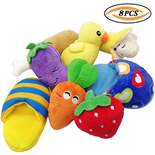 TVMALL Hundespielzeug Full Set 8 Stück Plüschtier Backenzähne Kauspielzeug Quietschspielzeug Schuhe Anzüge Für kleine und mittlere Hunde