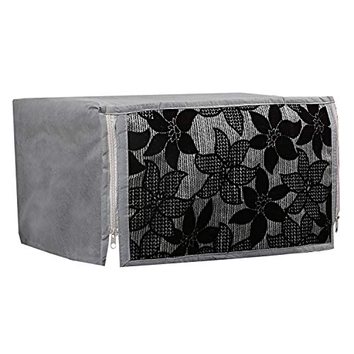 Kuber Industries Velvet Microwave Oven Cover 20 LTR (Black & Grey) -CTKTC5718
