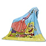 Throw Blanket Fleece Cartoon Printing 56'' x 40'' Kids Super Plush Soft Warm for Napping, Couch Chair, Living Room (S-Bob)
