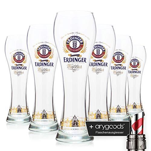 6x Erdinger Ciudad Silueta Trigo cerveza cristal 0,5l/vasos, marca Cristal, cerveza cristal + Botella vertedor
