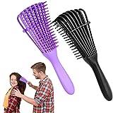 Hunputa Detangler Brush, Detangling Brush Hair Detangler Comb for Wet or Dry Curly Thick American Afro 3a to 4c Hair for Adult & Kids (Black & Purple)