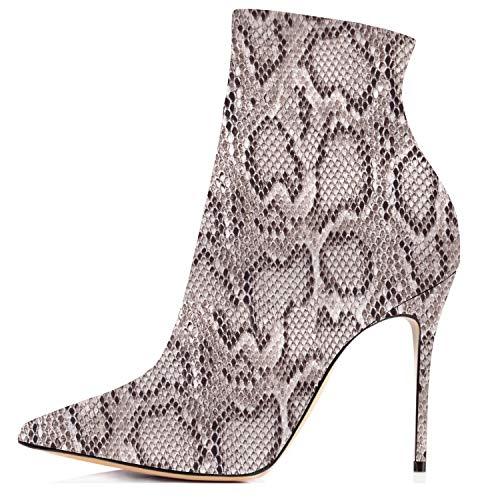 elashe Damen Stiefeletten | 10cm Trendige Damen Stiefeletten |Damen Schnürstiefeletten Gefüttert | Leder Optik Schuhe Schlange EU39