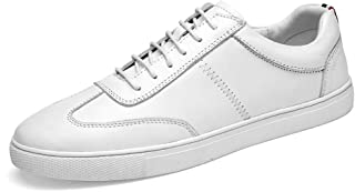 XUJW-Shoes, Fashion Sneaker for Men Sports Shoes Lace Up Style OX Leather Simple Solid Color Comfortable Durable Comfortable Walking Shopping Foot Feeling (Color : White, Size : 9 UK)
