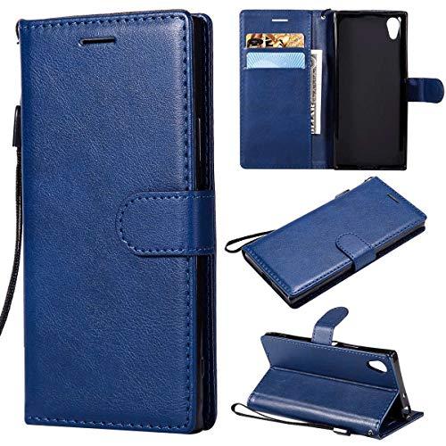 Sangrl PU-Leder Schutzhülle Für Sony Xperia XA1, Business PU Leder Wallet Tasche Cover Mit Kartenfächer Flip Hülle Für Sony Xperia Z6 - Blau