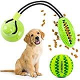 Suction Cup Dog Toy Chews - Bite Toys Durable Rubber Self Playing Multifunctional Rope Food Dispensing with Suction Cup and Play IQ Toy Treat Ball for Dogs Pet for Chewing Playing Teeth Cleaning