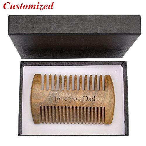 CCbeauty Personalized Custom Engraved- Beard Comb Green Sandalwood Wood Comb Handmade Wooden...