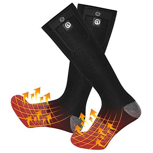 SNOW DEER Heated Socks,Men Women Electric Battery Socks Foot Warmer(Black&Gray,L)