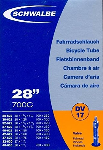"""Schwalbe Fahrradschlauch DV17 mit Blitzventil ~ 28\"""" ~ 37-622 mm (28 x 1 3/8 x 1 5/8 Zoll) (28 x 1.40 Zoll)"""