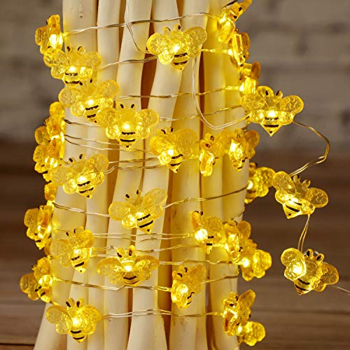 Impress Life Honey Bee Fairy String Lights, 10 Foot 40 LED, USB & Battery Operated 8 Modes with Remote Control for Wedding, Party, Festival, Indoor, Outdoor Decoration