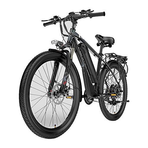 26 Zoll E-Bike, Mountainbike für Damen und Herren 400W Heckmotor und 48v 13Ah kann Sich Bewegen Lithium-Ionen-Akku Elektro Fahrrad 21 Gang Schaltung und Alu Rahmen,Schwarz,UE