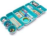 Sistema di organizzazione in feltro, sistema di organizzazione per cassetti e trucchi, cesto portaoggetti pieghevole in feltro, scrivania, cassetti organizer, organizer (verde)