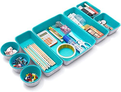 Sistema di organizzazione in feltro per cassetti, pieghevole, in feltro, per scrivania, cassetti, organizer per cassetti (verde)