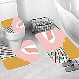 Shower Curtain 4 Piece Set Non-Slip 3D Pink Yellow Puzzle Bathroom Rug Mat Set Toilet Cover Bath Mat Non-Slip Waterproof Mould Proof Shower Curtains Bathroom Decoration 180x180 cm