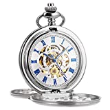 ManChDa Pocket Watch Retro Smooth Classic Mechanical Hand-Wind Pocket Watch Steampunk Roman Numerals Fob Watch for Men Women with Chain + Box