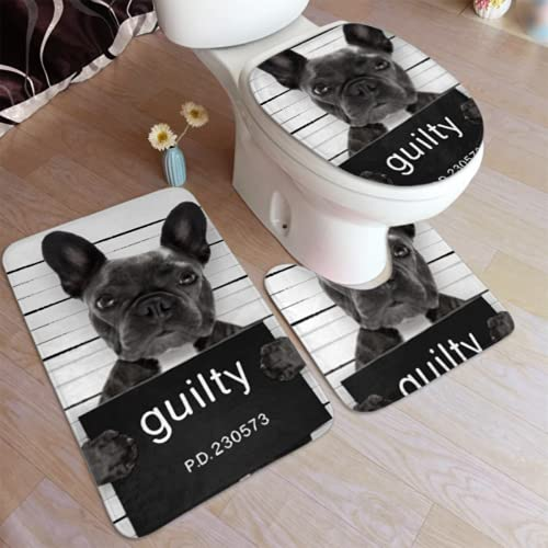 Bath Mat Criminal Mugshot French Bulldog Dog Police 3 Piece Bathroom Rug Set Includes Bath Rug,Contour Mat and Toilet Lid Cover,washroom Decor Modern Bathroom Accessories Non Slip Bath Rugs