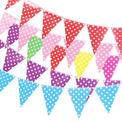 Dancepandas Wimpel Girlande Papier 12PCS Wimpelkette Bunt Dot Dreieck Flagge Banner Für Hochzeit Party Weihnachten Geburtstagsfeier (Rotes Blaues Grünes Gelbes Purpurrotes Rosa)