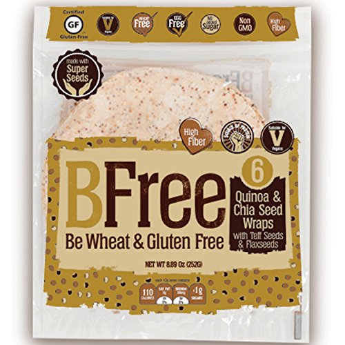 Bfree Gluten Free Tortilla Wrap 8' Quinoa & Chia Seed With Teff & Flaxseeds Dairy Free (3 Pack), Wraps