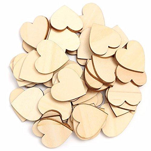 TRIXES Lot de 100 Copeaux de Bois Rustique en Coeurs d'amour pour la Décoration et l'Artisanat