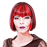 Short Vampire Cosplay Wig - 8' Ombre Straight Synthetic Hair Purple Bob Wigs with Bangs for Girls Women Anime Party Halloween, Black & Red