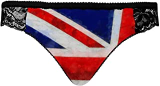 INTERESTPRINT Womens Underwear Lace Bikini Panties Comfy Lace Brief London on The Grunge British Flag Union Jack