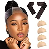 Wig Grip Headband with Wig Caps, Non-Slip Wig Grip Headbands for Women,Lace Wig Grip for Women, Fit 20 Inch-25 Inch Head Size-Wig Band with free 4 Beige Wig Cap (Brown)