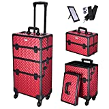 AW Rich Red 2in1 Aluminum Makeup Train Case Lockable Rolling Travel Salon Trolley Cosmetics Hairdressing Storage