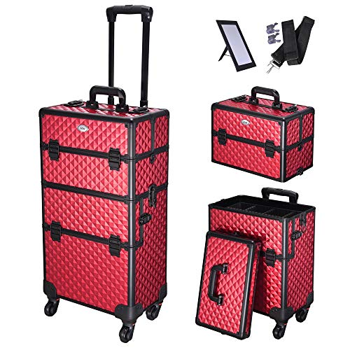 AW 2in1 Aluminum Makeup Train Case Rolling Travel Salon Trolley Cosmetics Hairdressing Vanity Storage Organizer