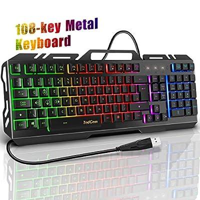 Gaming Keyboard, TedGem Gaming Keyboards USB Wired Keyboard LED Backlit Keyboard, Keyboard Gaming with 12 Multimedia Shortcut Keys 19-Key Anti-Ghosting for PC/Computer/Laptop Gamer