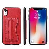 【HAIKAU】 iPhone XR 6.1インチ用 高品質なPUレザー ケース ジャケット 背面カバー 軽量 カード入れ付き スタンド機能付き 片手操作がラクラク! アイフォンXR レッド