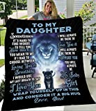 Ananas Pru to My Daughter from Lion Father Dark Blue Night Love Family Quote Vintage Retro Art Picture Print White Fleece Blanket (White Fleece 50'x60')