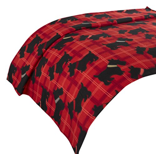 Dreamscene Scotty Dog Überwurf Decke, Animal Print Tagesdecke, rot/schwarz, 125 x 1 x 150 cm