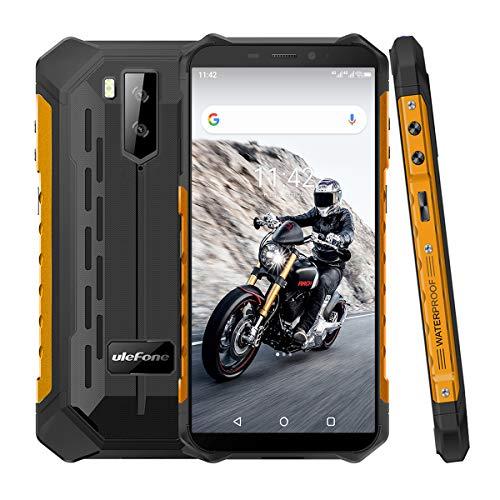 4G Outdoor Handys ohne Vertrag, Ulefone Armor X5 Android 9 Smartphones 5,5-Zoll Octa-Core 3GB + 32GB 5000mAh IP68/IP69K Wasserdicht Stoßfest Staubdicht, Dual SIM 4G-Netzwerk GPS NFC OTG -Orange