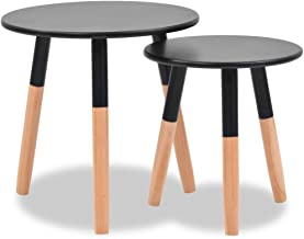 Festnight Side Table Coffee Table Set of 2 Pcs Round Table Modern Style Solid Pinewood Brown/Black/White
