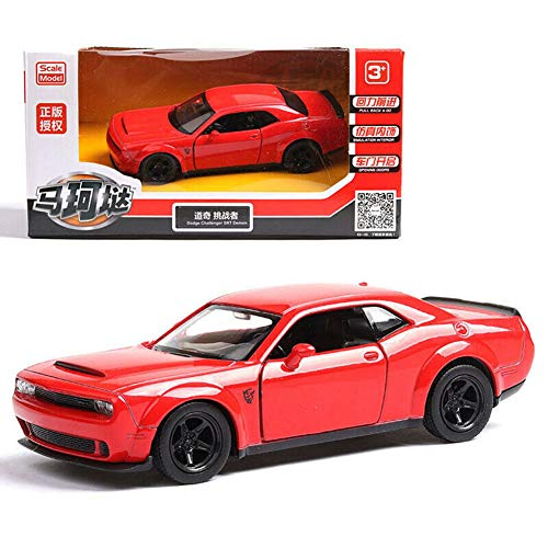 Model Car Sport Scale 1/36 Dodge Challenger SRT Demon Alloy Diecast Car Model No Sound Light Toy Red