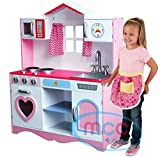 Mcc Large Girls Kids Pink Wooden Play Kitchen With Utensils Toys Children's Role Play Pretend Set Toy