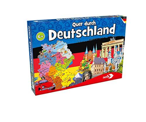 Noris - Quer durch Deutschland - Reise-Wissensspiel, Wettrennen durch die Bundesländer, Spiel mit Würfel, 2-6 Spieler, für Erwachsene und Kinder, ab 6 Jahren