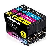 Hicorch 502XL Cartucce Compatibile con Epson 502 XL Multipack per Epson Expression Home XP-5100 XP-5105, Workforce WF-2860DWF WF-2865DWF WF-2860 WF-2865 (1 Nero,1 Ciano,1 Magenta,1 Giallo)