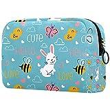 Bolsa de Maquillaje Conejo Abeja Mariposa Neceser de Cosméticos y Organizador de Baño Neceser de Viaje Bolsa de Lavar para Hombre y Mujer 18.5x7.5x13cm