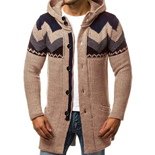 Aoogo Herren Lässige Lange Strickjacke mit Kapuze und Farbblock Männer Mens Slim Fit Kapuze Stricken Mode Cardigan Lange Trenchcoat Solide Jacke