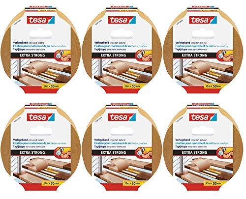 6er Packung tesa doppelseitiges Verlegeband/Extra stark klebend - für alle Teppiche und PVC Beläge/Für Fußbodenheizung und feuchte Räume geeignet / 50mm x 25m