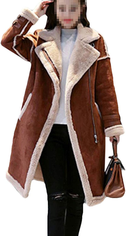 Gnao Women's Faux Suede Thicken ZipUp Outwear Linen Fleece Long Trench Coat