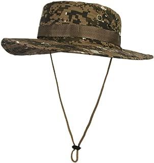 Vadeytfl Unisex Camouflage Fisherman Hat Jungle Sun Cap Bucket Hat Outdoor Wide Brim Sun Protect Hat - Foldable Adjustable Chin Strap (Color : E)