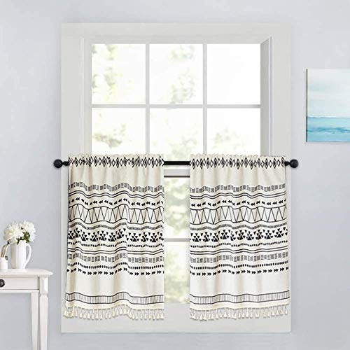 """Xiongfeng Cafe Curtain Short for Kitchen Window Blackout Boho Geometric White Drapes Cotton and Linen with Tassel for Bathroom Cabinet, 1 Panel 26"""" × 17"""""""