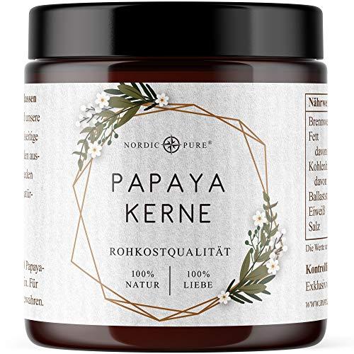 Papaya Kerne von Nordic Pure 100g | Papaya-Samen in Rohkostqualität | Papaya-Pfeffer ohne Zusatzstoffe - Hoher Papain Gehalt | Papaya-Enzym